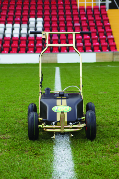 Rigby Taylor - iGO Machine  Will apply just 1 litre of Impact Gold to over-mark a football pitch